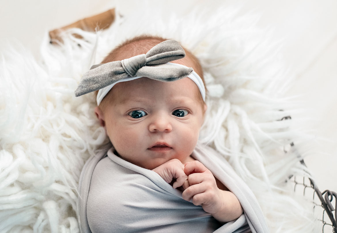 Newborn Baby Girl in Gray with Bow