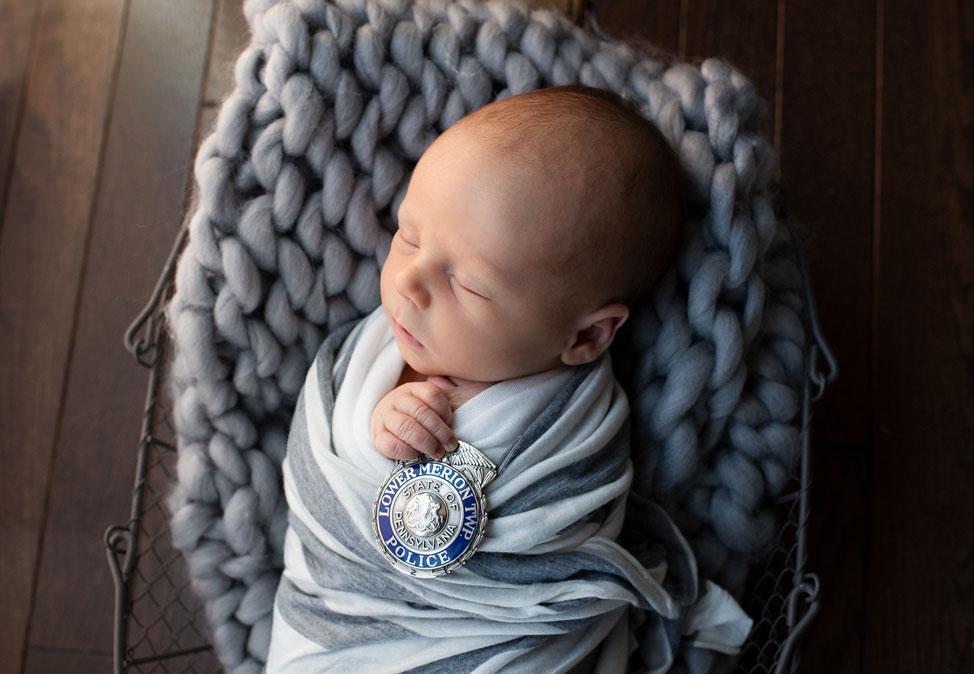 Newborn Boy Police Badge