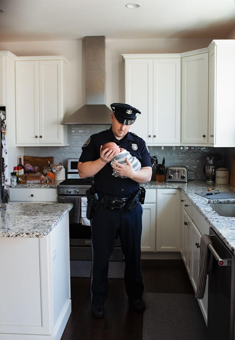 Newborn Boy Dad in Uniform